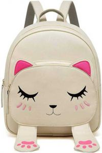 Versa Cute Small Cat Style Fashionable Backpack for Girls & Women (Beige, 6 L)