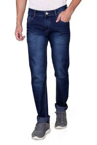 Mens Stylish Denim Fabric Low Rise Jeans Faded Slim Fit Jeans (Blue) (Pack Of 1)