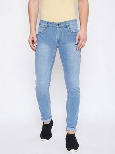Mens Stylish & Comfortable Cotton Spandex Fabric Low Rise Jeans Faded Slim Fit Jeans (Light Blue) (Pack Of 1)