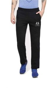 Polyester Spandex Solid Regular Track Pants For Mens (Black) (Pack Of 1)