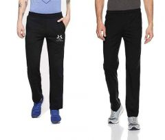 Solid Polyester Spandex Regular Track Pants Perfect For Mens (Black) (Pack Of 2)-SMCM-166