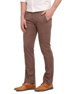 Stylish Cotton Solid Mid-Rise Casual Regular Fit Chinos Pant For Mens (Brown) (Pack Of 1)