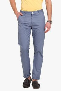 Stylish & Comfortable Cotton Solid Mid-Rise Casual Regular Fit Chinos Pant For Mens (Blue) (Pack Of 1)