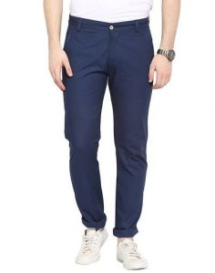 Stylish & Comfortable Cotton Solid Mid-Rise Casual Regular Fit Chinos Pant For Mens (Dark Blue) (Pack Of 1)