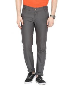 Stylish & Comfortable Cotton Solid Mid-Rise Casual Regular Fit Chinos Pant For Mens (Grey) (Pack Of 1)
