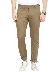 Stylish Solid Cotton Fabric Mid-Rise Casual Regular Fit Chinos Pant For Mens (Brown) (Pack Of 1)