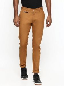 Stylish Solid Cotton Mid-Rise Casual Regular Fit Chinos Pant For Mens (Brown) (Pack Of 1)