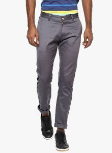 Stylish Solid Cotton Mid-Rise Casual Regular Fit Chinos Pant For Mens (Grey) (Pack Of 1)