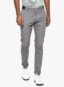 Stylish Solid Cotton Mid-Rise Casual Regular Fit Chinos Pant Perfect For Mens (Grey) (Pack Of 1)