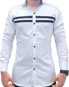 Upper Strip Casual Full Sleeves Shirt For Men (White) (Pack of 1)