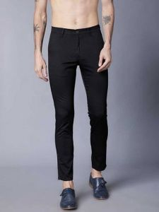 Mens Solid Mid-Rise Regular Chinos Trouser Perfect For Everyday Wearing (Black) (Pack Of 1)