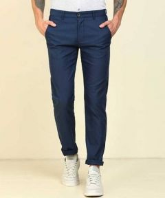 Mens Solid Mid-Rise Regular Chinos Trouser Perfect For Everyday Wearing (Blue) (Pack Of 1)