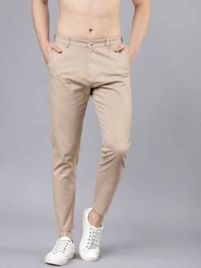 Mens Solid Mid-Rise Regular Chinos Trouser Perfect For Everyday Wearing (Khaki) (Pack Of 1)