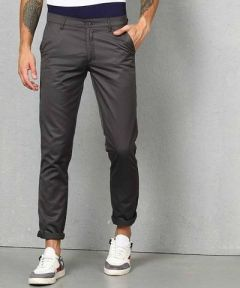 Mens Solid Mid-Rise Regular Chinos Trouser Perfect For Everyday Wearing (Grey) (Pack Of 1)