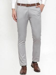 Mens Solid Mid-Rise Cotton Blend Stretchable Formal Trouser (Light Grey) (Pack Of 1)