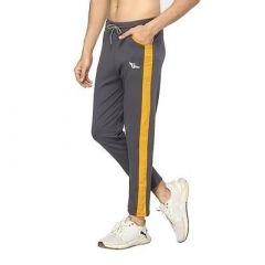 Fashionable Fleece Striped Regular Track Pant For Men (Grey) (Pack Of 1)