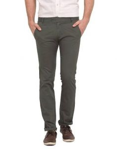 Stylish Solid Cotton Mid-Rise Slim Fit Chinos Pant For Men (Military Green) (Pack Of 1)