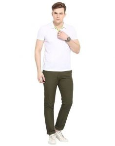 Stylish & Comfortable Solid Cotton Mid-Rise Slim Fit Chinos Trousers Perfect For Men (Green) (Pack Of 1)