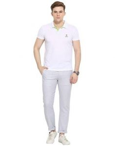 Trendy Solid Cotton Mid-Rise Regular Chinos Pant For Men (Grey) (Pack Of 1)