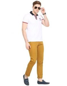 Trendy & Comfortable Solid Cotton Mid-Rise Slim Fit Chinos Trousers Perfect For Men (Mustard) (Pack Of 1)