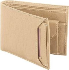 Stylish Short Length Pu Lether 2 Fold Wallets For Men (Dark Cream) (Pack Of 1)