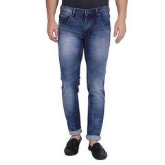 Men's Blue Denim Regular Fit Mid-Rise Jeans With Round Pocket (Pack Of 1)