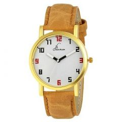 Mens Trendy Golden Case Up To The Minute Wrist Analog PU Watch For Formal & Party (Brown) (Pack Of 1)