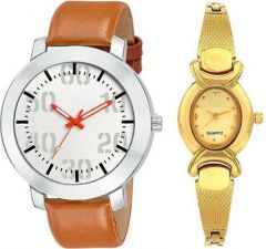 Trendy White & Gold Dial Analog Couple Watches For Men & Women (Combo Pack)