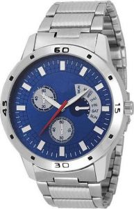 Blue Dial & Silver Metal Multifunction Watch For Men