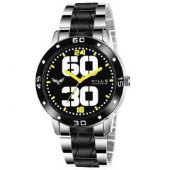 Stylish and Trendy Black Analog Metal Strap Watch for Men