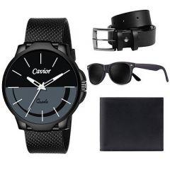 Stylish Black Synthetic Starp Analog Watch with Sunglass, Belt & Wallet (Black) (Combo Pack)