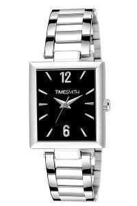Trendy Silver Stainless Steel Black Dial Watch For Men