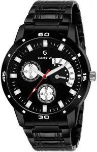 Designer Black Non Functional Chronograph Metal Strap Watch Analog Watch For Men