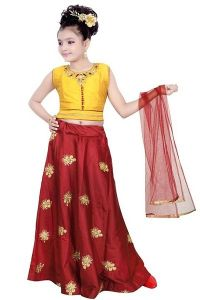 Lehenga Choli With Embroidered Best For For Kids & Girls (Pack Of 1)