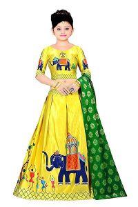 Stylish Elegant Yellow Printed Satin Girls Lehenga Cholis With Dupatta (Pack Of 1)