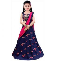Stylish Elegant Blue Printed Satin Girls Lehenga Cholis With Dupatta (Pack Of 1)-SMG-112