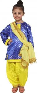 Punjabi Girl Kids Costume Kids Costume Wear Salwar, Suit & Dupatta (Pack Of 1)