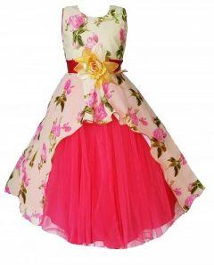 Girls Embellished Pink Silk Blend Fit & Flare Dress Perfect For Festivel & Wedding (Pack Of 1)