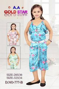 Trendy & Stylish Synthetic Floral Printed Jumpsuit For Girls (Pack Of 1)