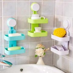 Plastic Double Layer Sucker Wall Mounted Soap Box With Flipped Idea Suction Cup Holder For Bathroom And Wash Basin, Soap Box With Suction Cup Holder Rack For Bathroom (Multicolor)