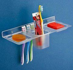 ABS Plastic 4 in 1 Multipurpose Kitchen/Bathroom Shelf/Paste-Brush Stand, Soap Stand,Tumbler Holder
