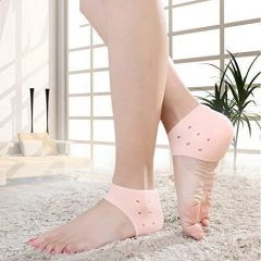 Silicone Half Heel Protector Socks Pad For Swelling Pain Relief And Repair Dry Hard Cracked (Size: Free)