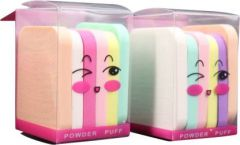Mopi Soft Sponge Powder Puff Makeup Rectangle Shape Multicolor (Set of 12)