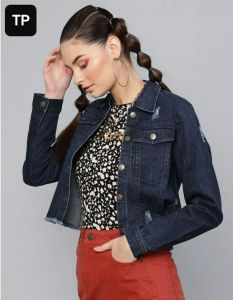 Women's Full Sleeves Regular Fit Solid Blue Ripped Denim Jacket