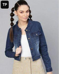 Women's Full Sleeves Regular Fit Solid Dark Blue Denim Jacket