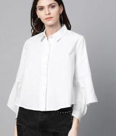 Women's Regular Stylish Fluffy Long Sleeves Solid Color Shirt