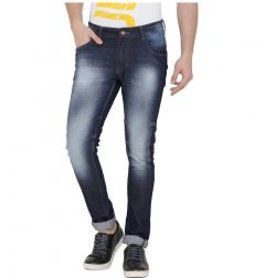 Men's  Solid Relaxed Fit Solid Denim Jeans