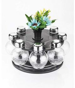 Multi Purpose 8 pcs Revolving Round Shape Transparent Spice Rack to Spice and Masala for Kitchen
