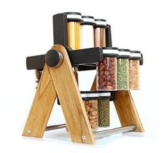 Multipurpose Plastic & Wooden Wheel Spice Rack with 360 Degree Revolving 130 ml 12 Spice Jar or Kitchen Spice Containers for Storage