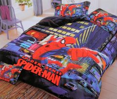 FABRIC EMPIRE Cotton Blue Spiderman Printed Kids Version Comforter Set With 1 Double Bedsheet and 2 Pillow Covers